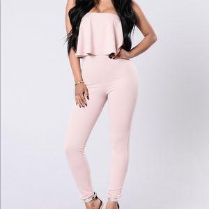 NWT Fashion Nova Rose Pink Strapless Jumpsuit 1X